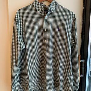 Green + White Checkered Ralph Lauren Shirt, Size L